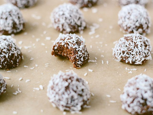 1 cup raw almonds 1 1/2 cups unsweetened shredded coconut, plus more for coating 1/4 cup cacao powder Small pinch Himalayan salt 12 Medjool dates, pitted and soaked for 15 minutes